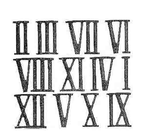 milled roman numeral set
