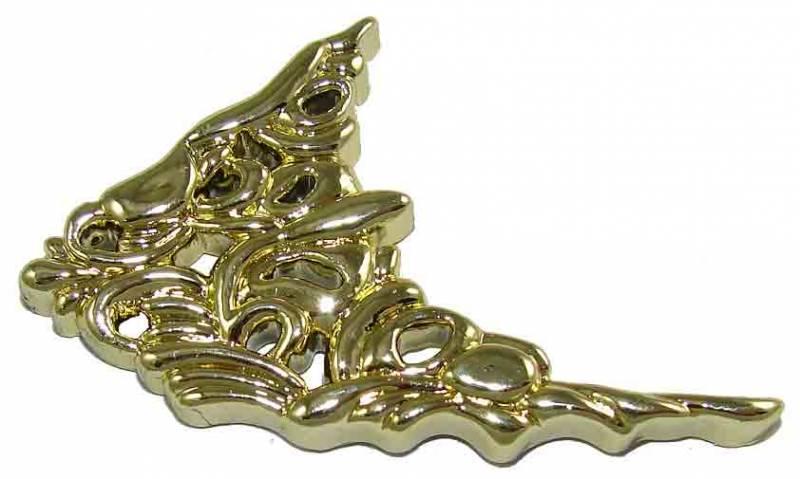 Plastic brass decorative corners pair