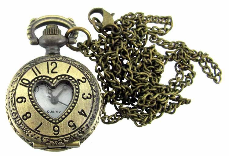 Pendant watch antique gold heart mozeypictures Choice Image