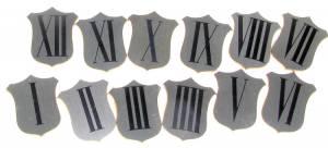 Brass Shield 20mm Roman Numeral Set