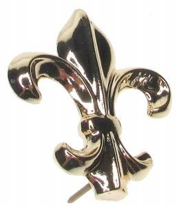 """Case Ornament - 1-5/8"""" Fleur de Lys - Brass - Image 1"""