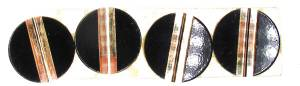 "Case Ornament 4-Piece Set - Brass/Black Sunburst 3/4"" Round - Image 1"