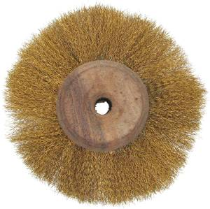 "3-1/2"" x 3 Row Brass Wire Brush on Wood Hub - Image 1"