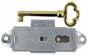 Narrow Door Lock & Key Set - Nickel Finish