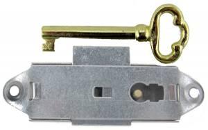 Narrow Door Lock & Key Set - Nickel Finish