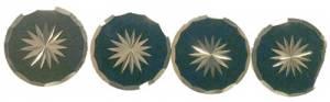 Case Ornament 4-Piece Set - Brass/Black Sunburst Round - Image 1
