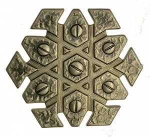 "Case Ornament- Antiqued 1-3/8"" Pentagon - Image 1"