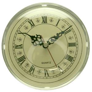 """130mm (5-1/8"""") Silver Bezel with Ivory Roman Dial Quartz Fitup (Insert)"""