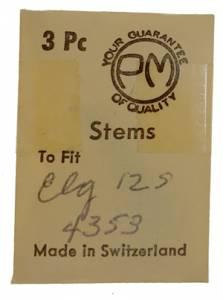 Elgin 12S - #4353 Watch Stem - 3 Pack