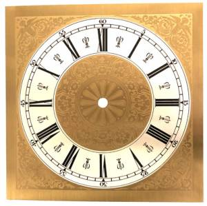 "7-13/16"" Fancy Square Roman Dial with 6-1/4"" Time Track"