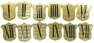 Brass Shield 37mm Roman Numeral Set - Image 1