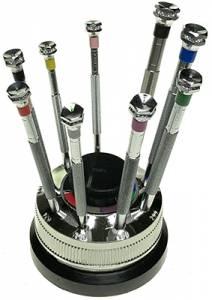 VIGOR-78 - 9-Piece Jeweler's Screwdriver Set On Rotating Base - Image 1