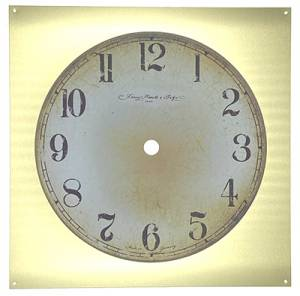 """Hermle 7-7/16"""" (190mm) Square Distressed Arabic Mission Clock Dial - Image 1"""