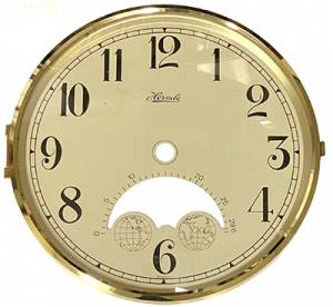 """Hermle 6-3/8"""" Ivory Arabic Moon Dial, Bezel, Convex Glass Assembly - Image 1"""