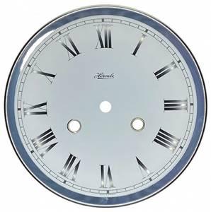 """Hermle 7-1/16"""" (180mm) Regulator White Roman Dial/Silver Bezel Assembly for #140-031 - Image 1"""