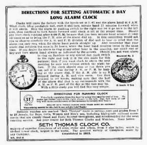 BEDCO-29 - Seth Thomas Clock Company Label
