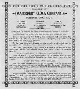 BEDCO-29 - Waterbury Clock Company Label - Image 1