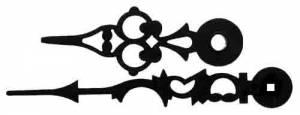 "HERMLE-17 - Black Serpentine Hands 4-1/16"" Minute Hand - Image 1"