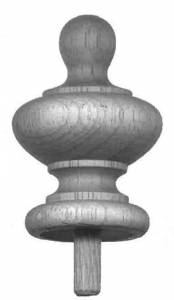 """MERRITT-11 - Wood Finial 1-3/4"""" x 2-1/2"""" - Image 1"""