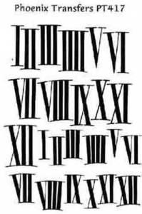 PHX -TR-29 - Black Roman Numerals Transfer  PT417 - Image 1