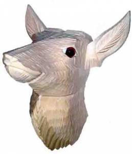 """PM-14 - 4-1/2"""" Wood Deer Head - Image 1"""