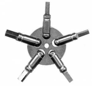 TT-19 - Mixed Sizes 5-Prong Brass Key Gauge  (0-1-2-13-14) American Sizes - Image 1