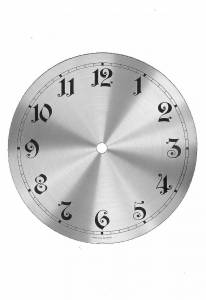 "Timesaver - 197mm (7-3/4"") Silver Finished Aluminum Arabic Box Clock Dial"