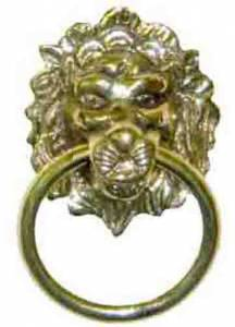 """Lion Head 1-7/8"""" With Ring - Brass - Image 1"""