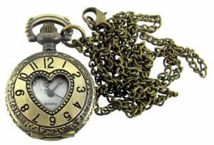 Pendant Watch - Antique Gold Heart