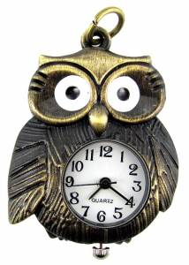 Pendant Watch - Antique Gold Owl - Image 1