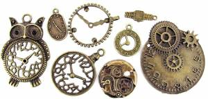 8-piece Bronzed Key Charm Assortment