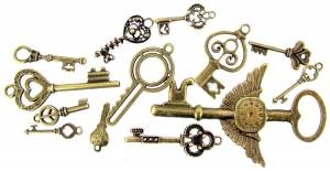 13-Piece Bronzed Key Charm Assortment