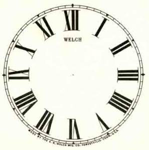 """SHIPLEY-12 - 4-1/2"""" Welch Roman Ivory Dial - Image 1"""