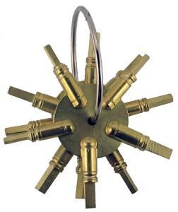 TT-19 - 4 Prong Brass Key Gauge  3-Piece Assortment American Sizes - Image 1