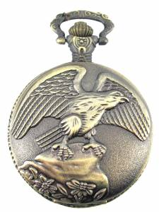 Brass Plated Eagle Pocket Watch