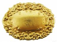 Clock Repair & Replacement Parts - Case Parts - Ornate Brass Oval Label Plate