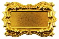 Case Parts - Decorative Appliques - Ornate Rectangular Brass Label Plate