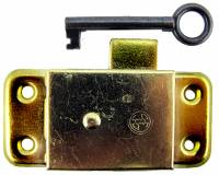 "Doors & Parts (Locks, Keys, Latches, Etc.) - Locks & Keys - Door Lock & Key Set - 1-11/32"" W x 3"" L - Brass"