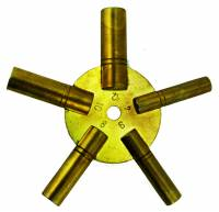 Clock Repair & Replacement Parts - Keys, Winders, Let Down Chucks & Related - Economy 5-Prong Brass Key-Even Swiss Sizes (#4-4-6-8-10-12)