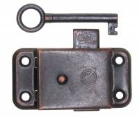 "Case Parts - Doors & Parts (Locks, Keys, Latches, Etc.) - Door Lock & Key Set  1-1/4"" x 2-1/2"" - Blackened Steel"