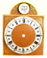"Clock Repair & Replacement Parts - Dials & Related - 6"" X 6"" X 8"" Tempus Fugit Brass & Silver Arch Dial"