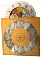 Metal Dials - Arch Dials, Moon Dials and Discs - Silver & Brass Moon Phase Arch Dial - 280mm x 280mm x 395mm