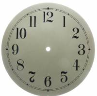 "Clock Repair & Replacement Parts - Dials & Related - 10"" Plain Ivory Arabic Round Dial"