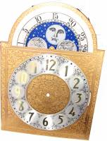 Clock Repair & Replacement Parts - Dials & Related - Silver & Brass Moon Phase Arch Dial - 300mm x 300mm x 420mm