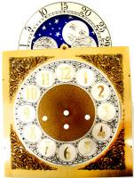 Clock Repair & Replacement Parts - Dials & Related - Silver & Brass Moon Phase Arch Dial - 250mm x 250mm x 352mm