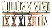 "Numeral Sets, Minute  & Hour Markers, Bar & Dot Sets - Roman Numeral Sets - 3/4"" Gold Plastic Roman Numeral Set"