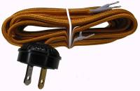 Movements, Motors, Rotors, Fit-Ups & Related - Electric Movements and Parts - Antique Style 10 Ft. Gold Rayon Cord With Plug