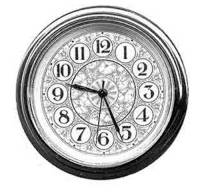"Quartz Movements, Hardware and Tools - Fit-Ups (Also called Clock Inserts) - 59mm (2-1/4"") Arabic Fancy White Dial Fitup"