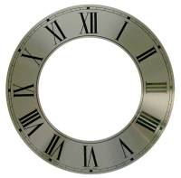 "Dials & Related - Dial Related Items (Chapter & Time Rings, Dial Cutters, Dial Screws, Enamel, Arbors, etc.) - 9-3/4"" Silver Aluminum Time Ring with Roman Numerals"