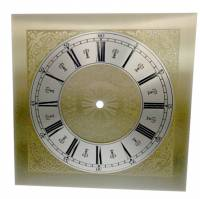 """Clock Repair & Replacement Parts - 9-3/4"""" Square Etched Brass Roman Dial"""